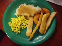 Corn, Mashed Potatoes with Gravy, Fries and Shrimp