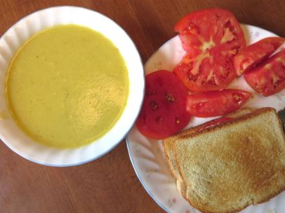 Tomato Sandwich and Squash Soup Lunch