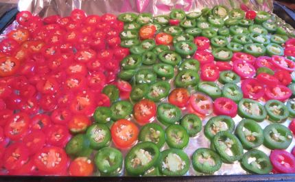 Pepper Slices for Freezing